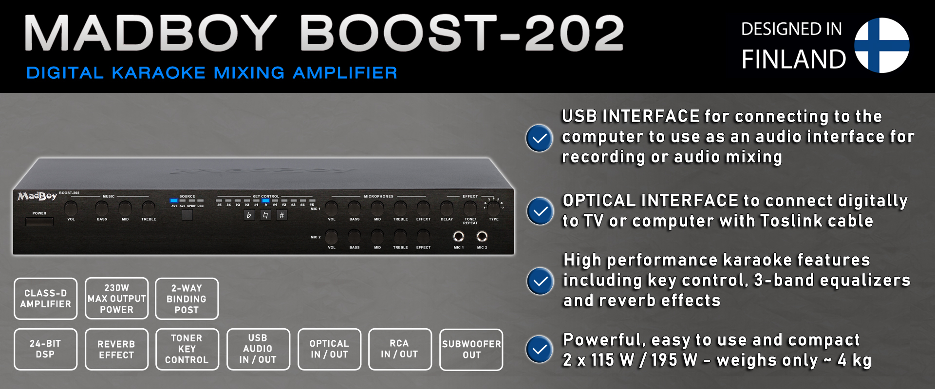 BOOST-202 DIGITAL KARAOKE MIXING AMPLIFIER - DESIGNED IN FINLAND