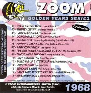 Zoom Karaoke Golden Years 1968 (CD+G)